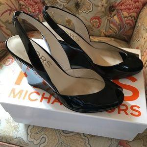 Michael Kors Patent Leather Peep Toe Pumps